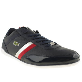 mens lacoste navy & red giron trainers