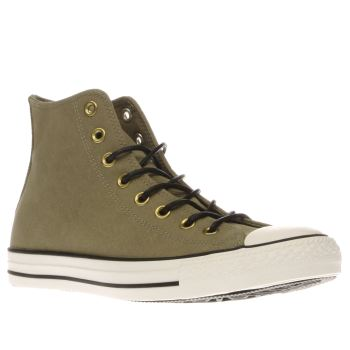 Converse Khaki All Star Hi Leather Corduroy Mens Trainers