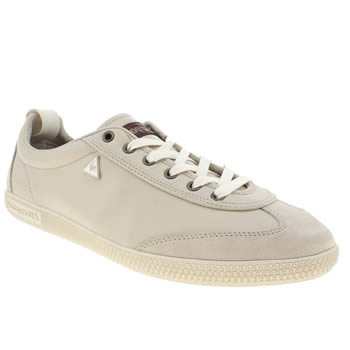 mens le coq sportif light grey provencale leather trainers