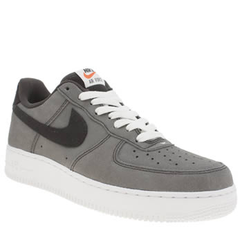 Mens Nike Grey & Black Air Force 1 07 Trainers