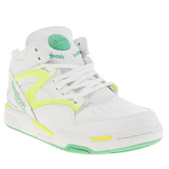 Reebok White & Green Pump Omni Lite Trainers