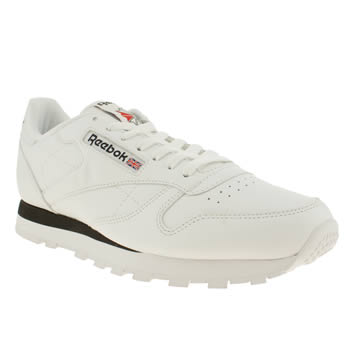 Mens Reebok White & Black Classic Leather Trainers