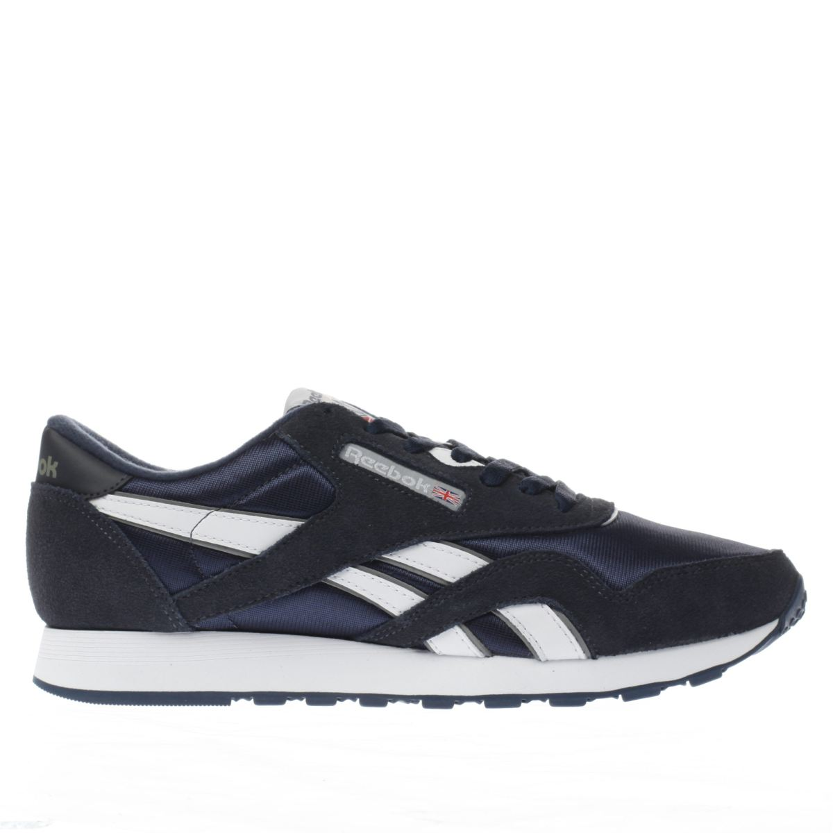 reebok navy & white classic leather trainers