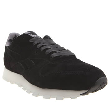 Reebok Black & Grey Classic Leather Trainers