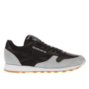 Reebok Grey & Black Classic Leather Perfect Split Trainers