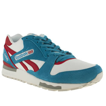 mens reebok white & blue gl 6000 trainers