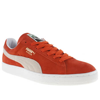 mens puma orange suede classic trainers
