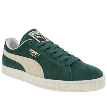 mens puma dark green suede classic trainers