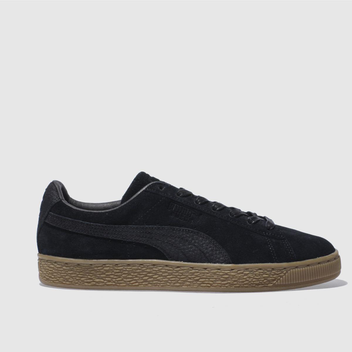 puma black suede classic trainers