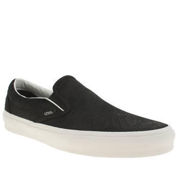 Vans Black & White Classic Slip On Braided Suede Trainers