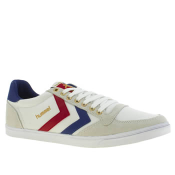 mens hummel white & navy slimmer stadil low trainers