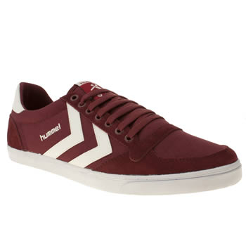 Mens Hummel Burgundy Slimmer Stadil Low Trainers