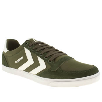 mens hummel dark green slimmer stadil low trainers
