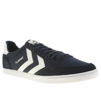 Mens Hummel Navy & White Slimmer Stadil Low Trainers