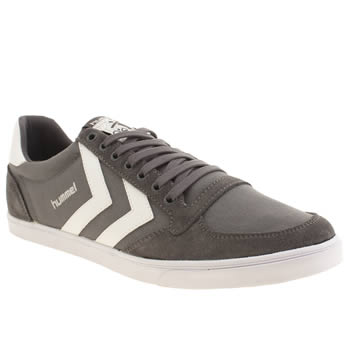 Mens Hummel Grey Slimmer Stadil Low Trainers