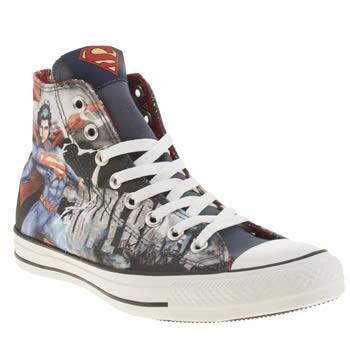 Converse Black and blue All Star Superman Hi Trainers