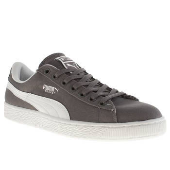 mens puma grey basket classic trainers
