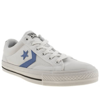 mens converse white & blue star player ox trainers