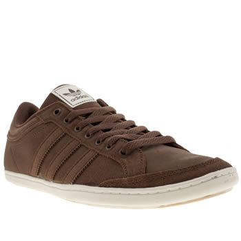Mens Adidas Dark Brown Plimcana Clean Low Trainers