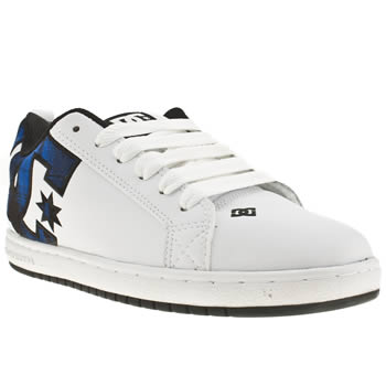 mens dc shoes white & blue court graffik se trainers