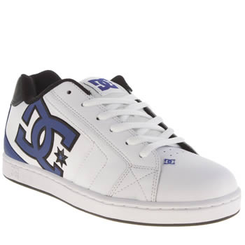 Mens Dc Shoes White & Blue Net Trainers
