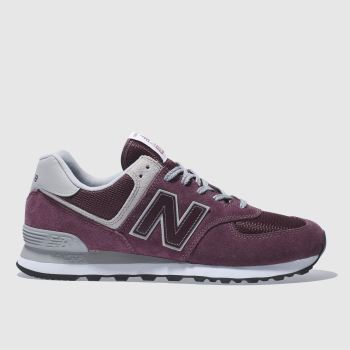 Mens New Balance Burgundy 574 Trainers