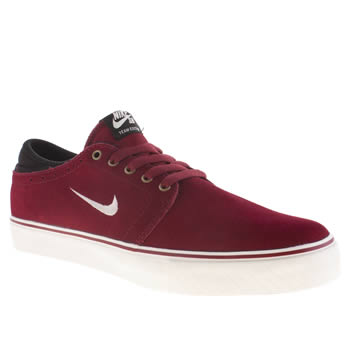 mens nike skateboarding burgundy zoom team edition trainers
