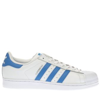 Adidas White & Blue Superstar Mens Trainers