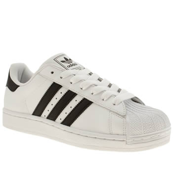 mens adidas white & black superstar trainers
