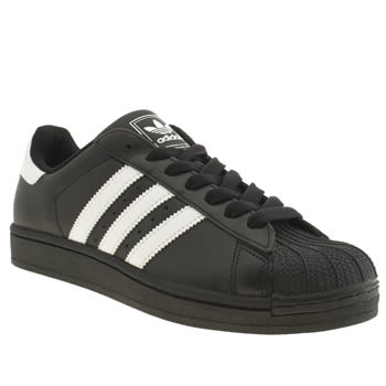 mens adidas black & white superstar trainers