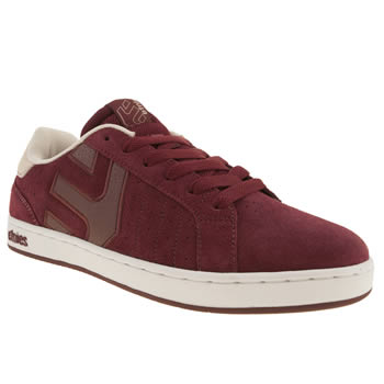 mens etnies burgundy fader ls trainers