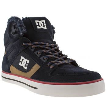 mens dc shoes navy & red spartan high wc trainers