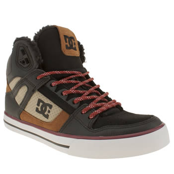 mens dc shoes brown & black spartan high wc trainers