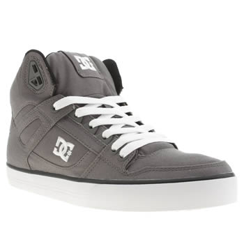 mens dc shoes dark grey spartan hi wc canvas trainers