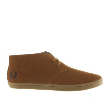 Fred Perry Tan Byron Mid Suede Trainers