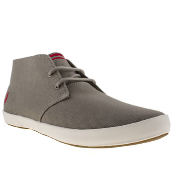 mens fred perry light grey byron mid trainers
