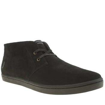 Mens Fred Perry Black Byron Mid Suede Trainers