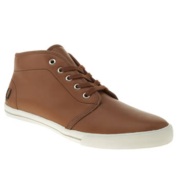 mens fred perry tan fletcher leather trainers