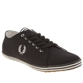 Mens Fred Perry Black & White Kingston Twill Trainers