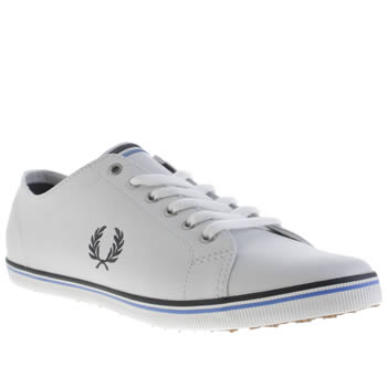 Mens Fred Perry White & Blue Kingston Leather Trainers