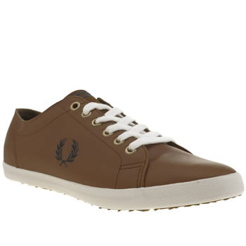 Mens Fred Perry Tan Kingston Leather Trainers