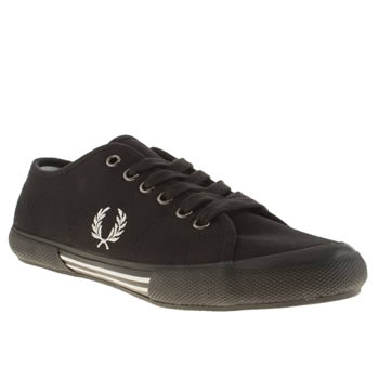 Mens Fred Perry Black & White Vintage Tennis Trainers