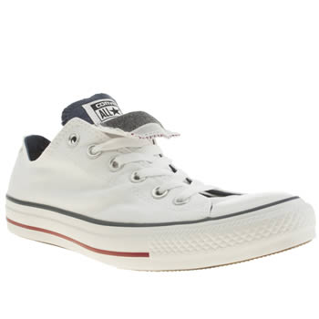 mens converse white & navy all star double tongue trainers