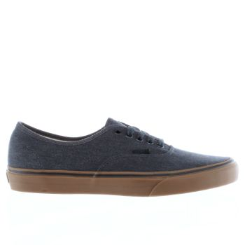 VANS NAVY AUTHENTIC WASHED CANVAS TRAINERS
