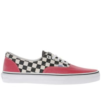 Vans Red 2 Tone Check Era Mens Trainers
