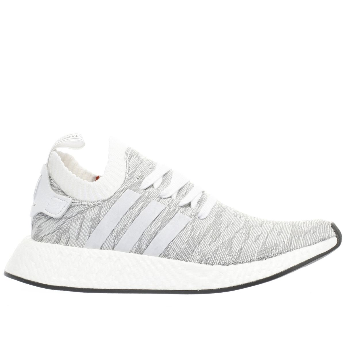 adidas white & grey nmd_r2 primeknit trainers