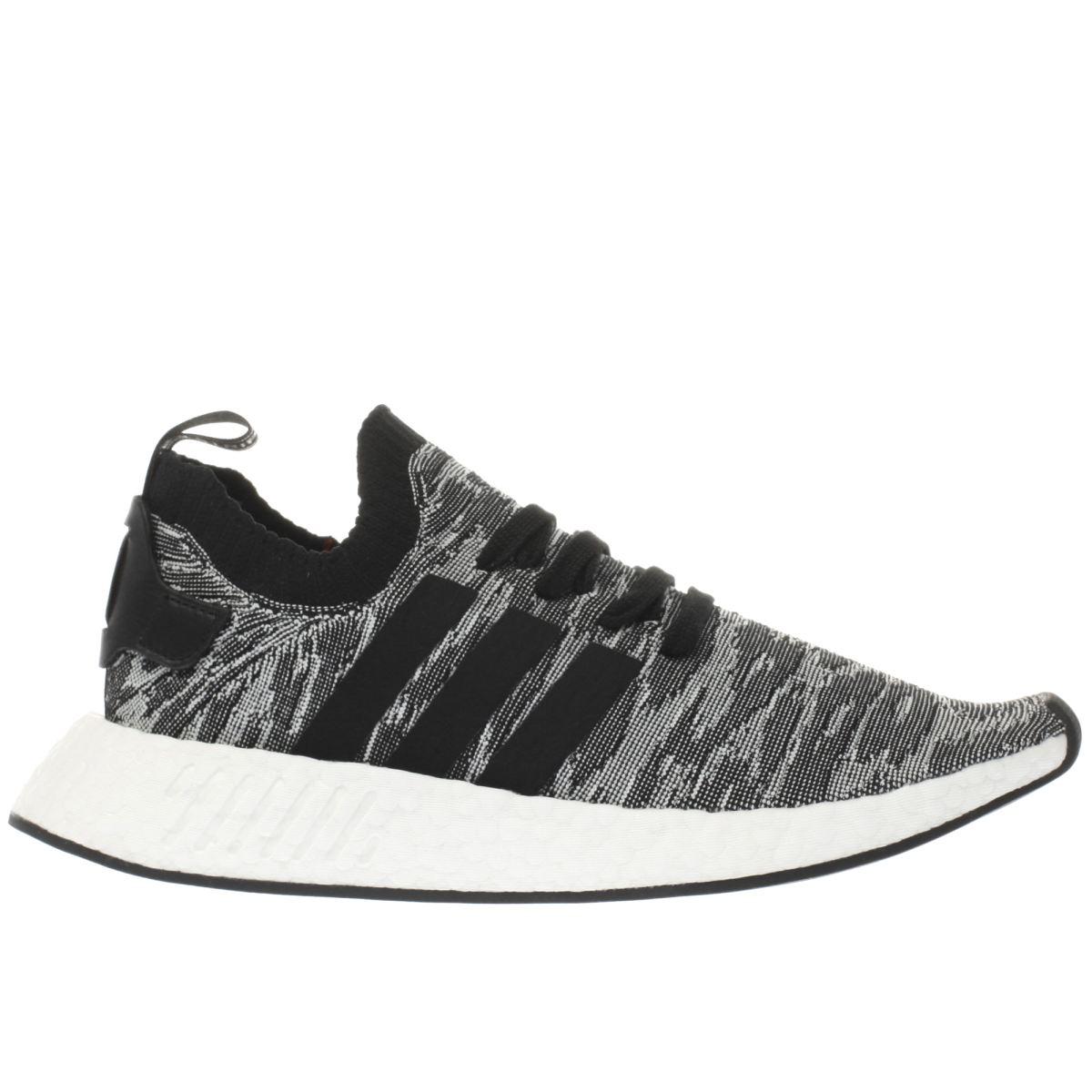 adidas grey & black nmd_r2 primeknit trainers