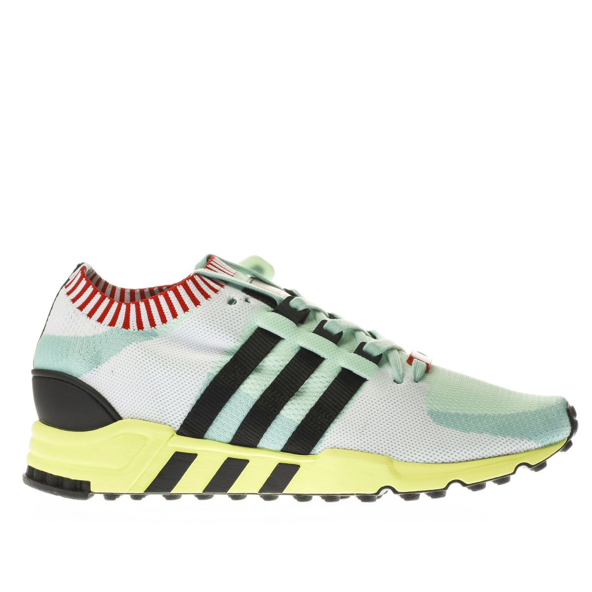 adidas white & mint green eqt support rf primeknit trainers