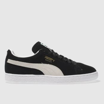 Mens Puma Black & White Suede Classic Eco Trainers