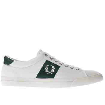 Fred Perry White & Green Underspin Plastisol Trainers